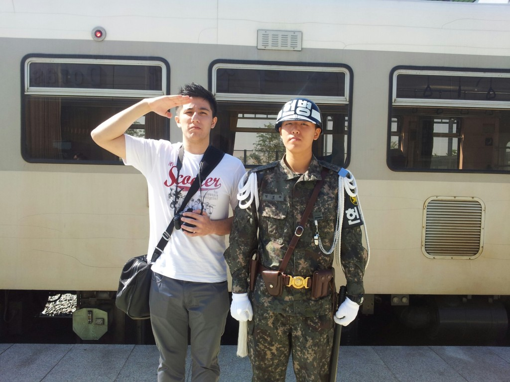 At the de-militarized zone (DMZ) with military police.