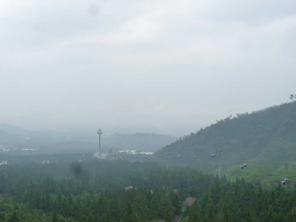 A view of the aboriginal village, theme park and scenery from the cable car