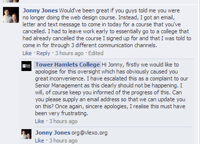 Tower Hamlets College - Facebook comment