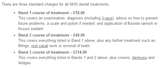 NSH dental charges