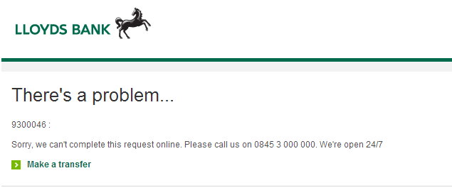 Lloyds Bank   Error Page Logged In