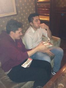 Ed feeding me sandwiches